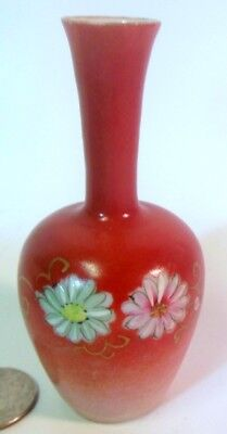 Antique MINIATURE Chinese Porcelain Baluster VASE Qing Coral Color Flowers