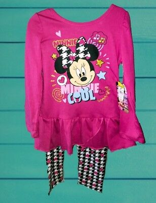 Minnie Mouse Toddler Girls Sz 4T 2 Piece Set Outfit Shirt Leggings Pants Disney