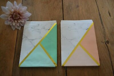 25 Marble Paper Sweet Bag - Peach / Mint Gold - Wedding Candy Bar Retro Vintage