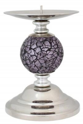 Bronze Mosaic One Ball Candlestick//Candle Holder with Chrome Base