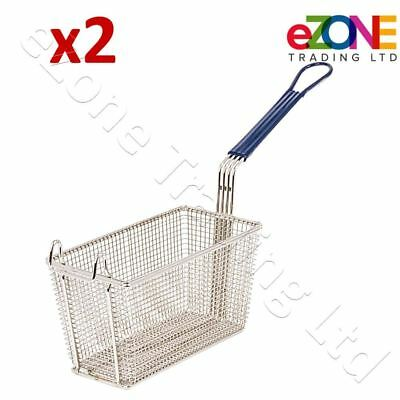 2 Small Frying Basket for Commercial Fryer Takeaway Chip Fish 280x136x105mm