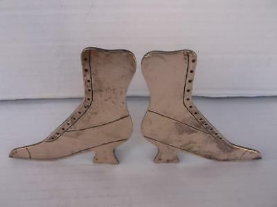 Pair Of Victorian Hand Made And Hand Cut Brass Ladies Boot Shaped Ornaments