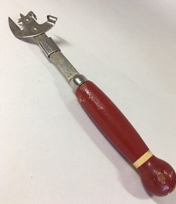 Vintage Ekco A & J Can/Jar/ Bottle Opener With Red Wooden Handle Made in USA GUC