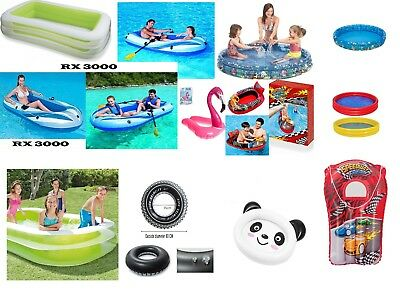 Large Rectangular Inflatable Family Swimming Pool Hydro Boat Swim Ring Rider Fun