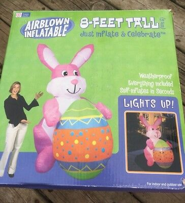 Gemmy Airblown Easter Bunny 8 Ft Lighted Yard Decoration Complete Working 2004