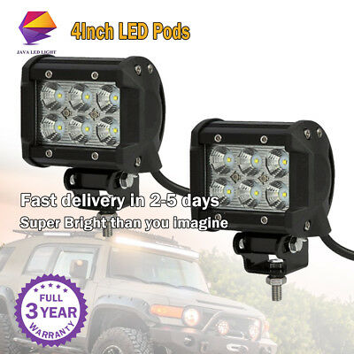 2X 4Inch 18W Led Work Light Bar Flood Offroad Ute Reversing Truck Pod Fog