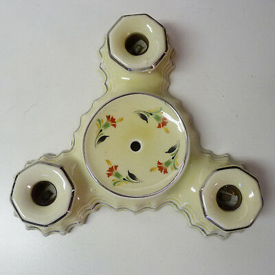 Antique Flush Mount Porcelain Ceiling Light Fixture, 3 Bulbs, Floral