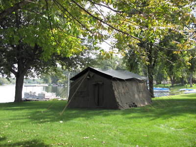 MILITARY 16X16 FRAME TENT CAMPING HUNTING ARMY VINYL CANVAS STOVE ...