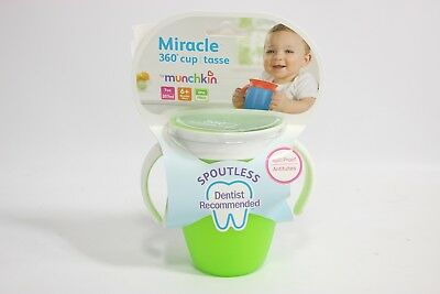 Munchkin Miracle BPA FREE 360 Degree 7 Ounce Trainer Cup - Pink with Green Lid