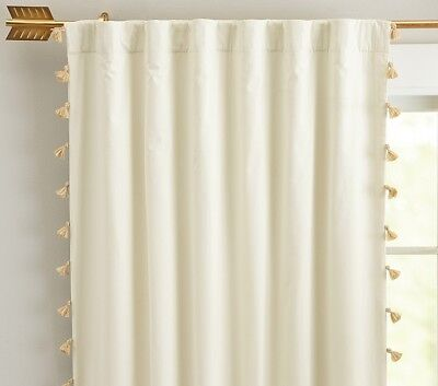 pottery barn kids emily meritt gold tassel blackout drape panel curtain 44x84 - Pottery Barn Kids Curtains