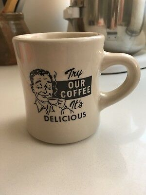 """""""Try Our Coffee, It's Delicious"""" 9 OZ. Vintage 1960s Diner Mug Made In USA"""