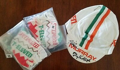 AUTHENTIC 7-ELEVEN CYCLING Team Issued Cap Gloves Signed Descente ... c3923098b
