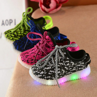 Kids Baby Boys Girls LED Light Running Sneakers Casual Shoes Soprt Mesh Shoes