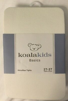 KoalaKids Girls Basic Ivory Microfiber Tights 2T- 3T Toddler Ivory Tights New