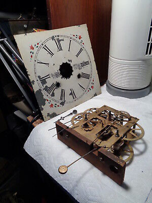 Antique-Waterbury-Weight-OG-Clock Movement-Ca.1880-To Restore-#P359