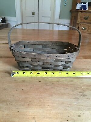 Longaberger Early Edition 1982 Dark Stain Rectangular Basket with Handle