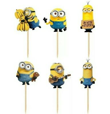 24 pcs Dispicable Me MINION Bob Cupcake Cake Toppers Baby Kids Children Party