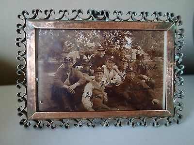 RARE ! ART DECO 30s HAND WORKED COPPER WIRE BORDER PHOTO FRAME