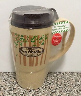 Tim Hortons Coffee Plastic Tumbler 16 oz Deluxe Thermo Serv Brown NEW Trees