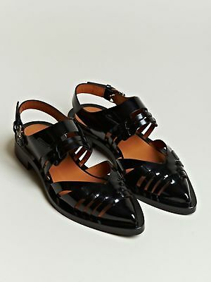 Givenchy Black Womens Patent Leather Pointed Cage Sandals Flats 37 $975