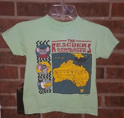Kids Allison The Rescuers Down Under 90's Green Short Sleeve T-Shirt Size 7