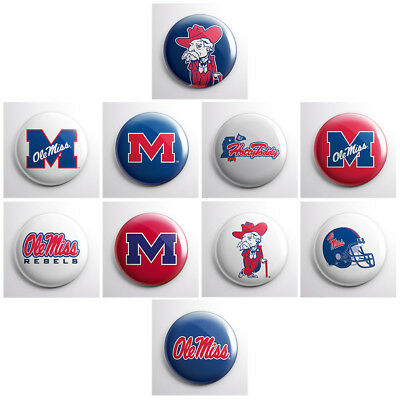 MISSISSIPPI OLE MISS REBELS – college athletic pinback buttons – team pin badges
