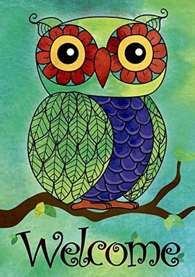 Morigins Welcome Spring Green Owl Double Sided Garden Flag