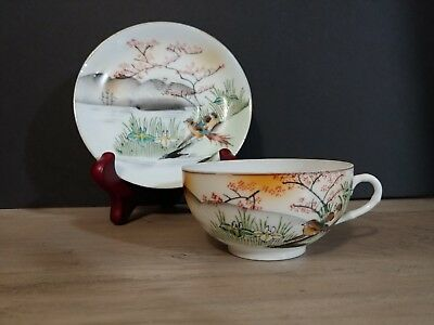 Japan Signed Suzuki Co. Porcelain Hand Painted Eggshell Cup & Saucer