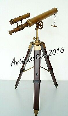 Antique Double Barrel Telescope Brass Navy With Tripod Stand Beautiful Gift