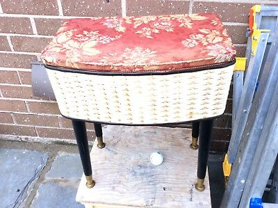 Vintage Retro Sewing Box Seat Stool Side Table 1960's 1970's fitted Lloyd loom