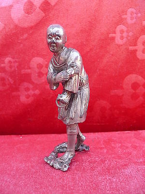 Very Antique Metal Figure__Chinese__Silver Plated (Silver ?)__ Buddhist Monk __