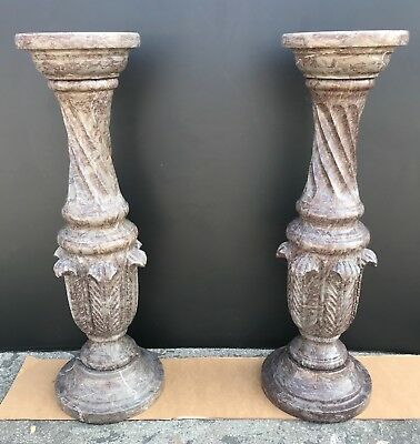 Pair of Hand Carved Red Gray Marble Column Pedestals Sculpture Plant Stand