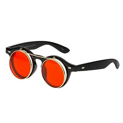 Retro Sonnenbrille 50er Jahre Steam Punk Flip up Look  clear türkis rot lila 865