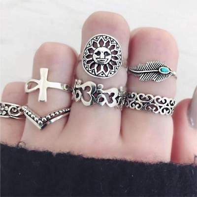 Women's Ring Antique Silver Color Cross Crown Crystal Rhinestone Finger Rings