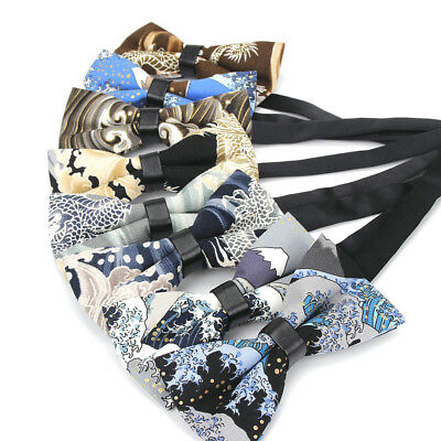 Mens Linen Cotton Pre-tied Bowtie Wedding Party Adjustable Flower Tuxedo Bow Tie
