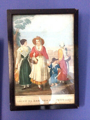 Pair of Vivid and Interesting Antique Italian Prints, gorgeous colours