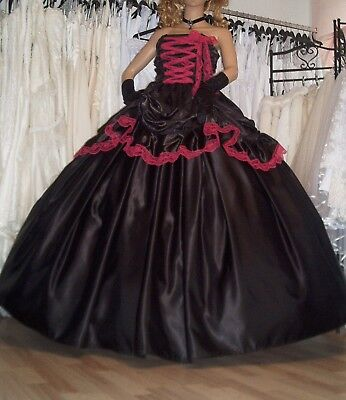 WGT GOTHIC CORSAGE Kleid Rock Ballkleid Brautkleid Halloween Party ...