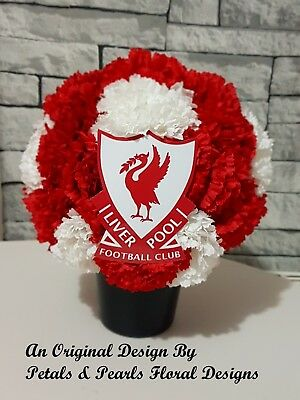 Liverpool Football Club Grave Pot Artificial Silk Flowers Funeral Tribute