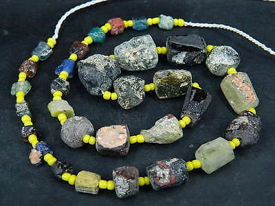 Ancient Fragment Glass Beads Strand Roman 200 BC  #BE1378