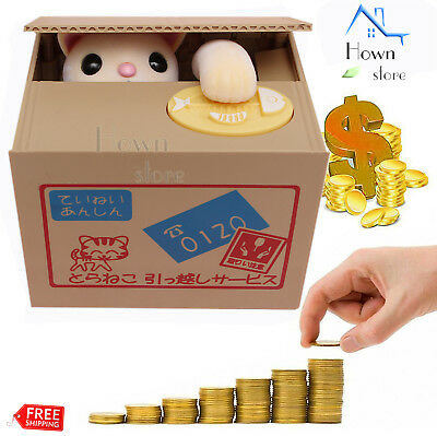 Cute Yellow Cat Bank Piggy Automated  Stealing Money Saving Box Toy Gift Coin