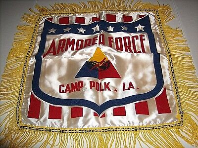 Vintage Military Pillow Sham Cover Silk US Army Camp Polk Armored Force
