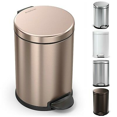 Simplehuman 4.5 Liter/1.2 Gallon Compact Stainless Steel Round Bathroom 6 colors