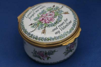 HALCYON TRINKET BOX VALENTINE'S DAY 1986 Love's Flowers,Forget-Me-Nots & Roses