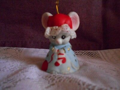 """Vintage 1980s Jasco ceramic mouse Bell 3"""" tall- Christmas ornament"""