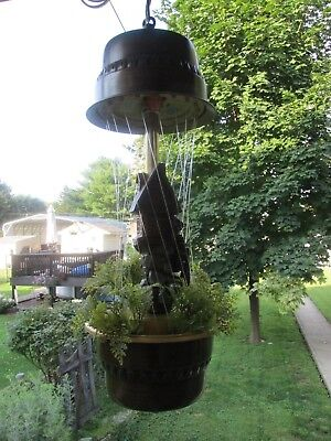 Vintage Grist Mill Oil Rain Motion Lamp Moving Water Wheel Hanging Light Creator