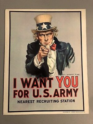 Uncle Sam I Want You for U.S. Army 11x14 Cardboard Sign RPI-223 1980