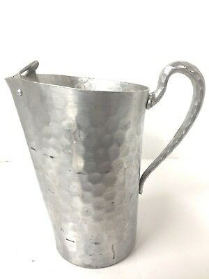 EVERLAST 5061 Hammered Aluminum Water Pitcher Vintage 8' Tall Ice Guard NICE!