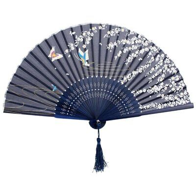 3X(Folding bamboo lace hand fan, dark blue butterfly and white flower F9F5