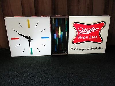 Vintage Miller High Life Beer Bar Sign Light / Clock /  Disco Effect