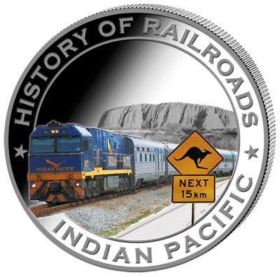 Liberia 2011 $5 History of Railroads - Indian Pacific Proof Silver Coin